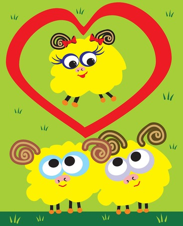 sheep love: amor de ovejas Vectores