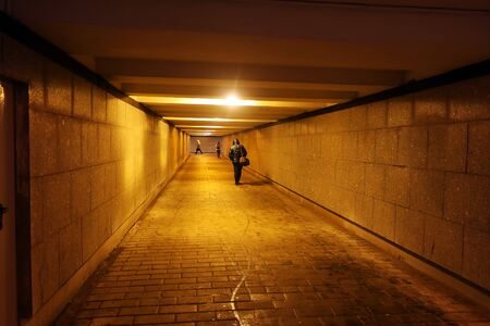 pedestrians walking in an underpass lined with granite and poorly lit by electric lamps