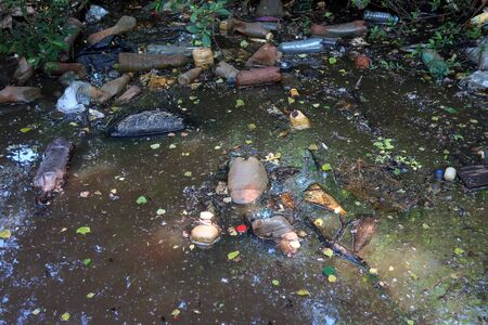 environmental pollution, landfill: discarded plastic bottles floating in muddy water in the shade of trees with glare of the sun on the water
