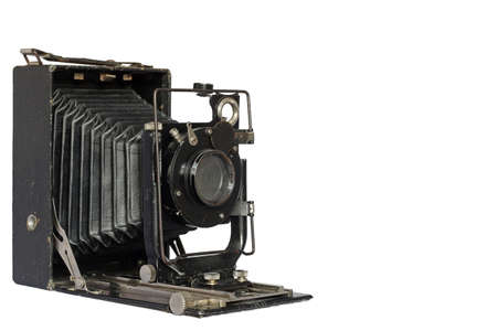 vintage photography accordion camera on white background, ready to take pictures Banco de Imagens