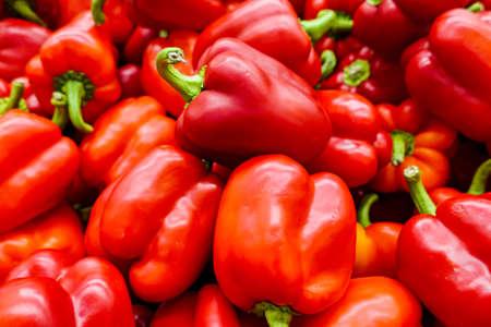 New crop of juicy red bell pepper. Fresh vegetables, healthy food
