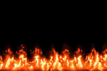 bonfire burning brightly on stones isolated on black background