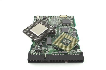 microprocesadores: Microprocesadores y controlador de tarjeta de unidad de disco duro  Foto de archivo