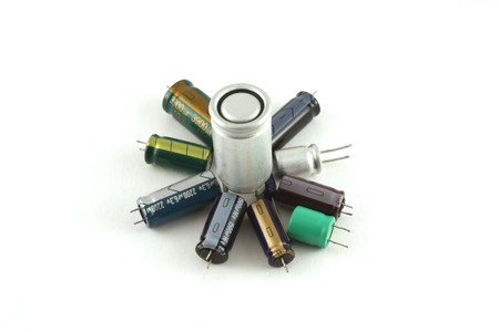 Capacitors: Electronic components - capacitors Stock Photo
