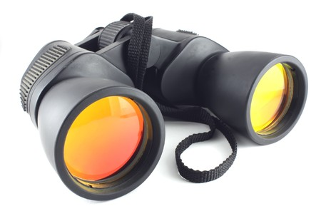 far away look: Binoculars Stock Photo