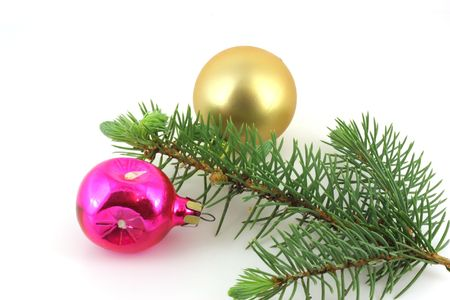 Firry twig and toys (color spheres). Stock Photo - 7173284
