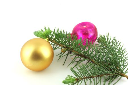 Firry twig and toys (color spheres). Stock Photo - 7173283