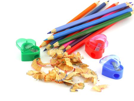 Tools for sharpening a pencil with shavings. photo
