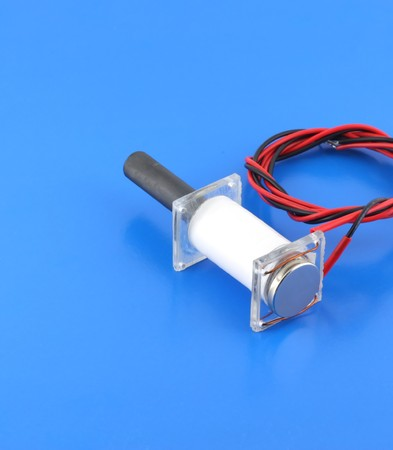 transducer: Ultrasonic transducer on the blue background