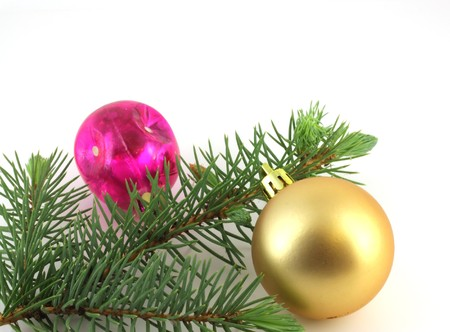 Firry twig and toys (color spheres). Stock Photo - 7327944