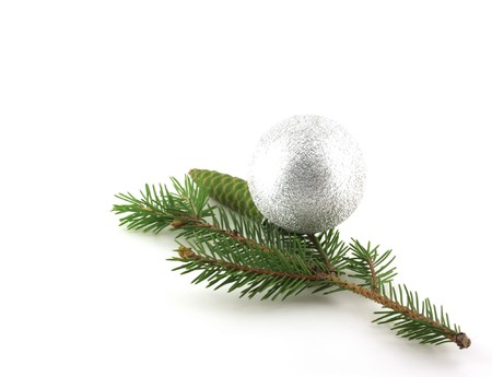 firry: Firry twig and silver sphere Stock Photo