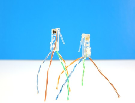 tcp: Two connectors RJ45 for network. Shallow DOF.