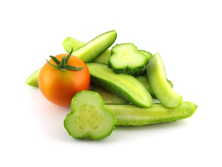 cutted: Cutted cucumber and tomato Stock Photo
