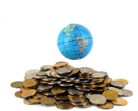 Earth over geld  Stockfoto