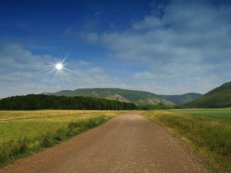 ridges: Road nella gola. Panorama estivo.