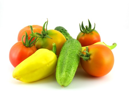 Cucumbers, tomatoes and pepper photo