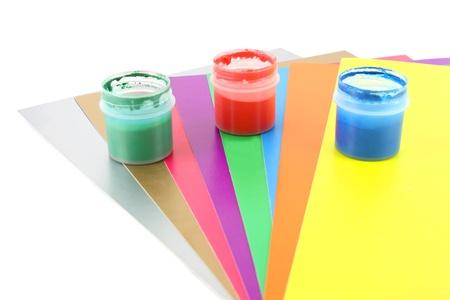 カラー ペーパーと水の色 写真素材
