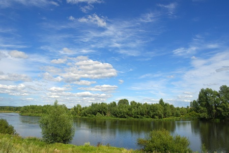 Beautiful summer landscape with river