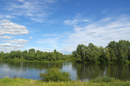 Beautiful summer landscape with river photo