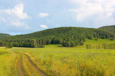 Roads to the mountains. Summer landscape. Stock Photo - 10993588