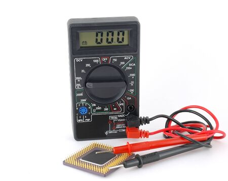 microprocessor: Multimeter and microprocessor over white