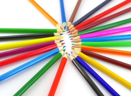 creatively: Color pencils over white