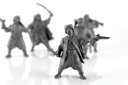 Group of Ukrainian Cossacks with weapons. Shallow DOF. photo