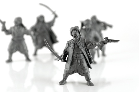cossacks: Group of Ukrainian Cossacks with weapons. Shallow DOF.