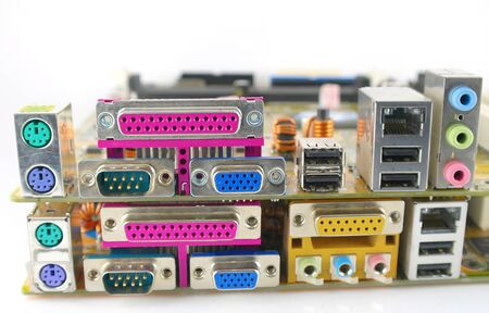 Interface plug-and-sockets of computer main boards photo