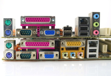 Interface plug-and-sockets of computer main boards Stock Photo