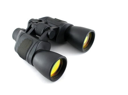 Zwarte verrekijkers met gele lens over wit