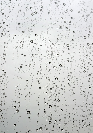 Drops of rain on the window (glass). Shallow DOF. photo