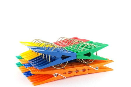 clothespegs: Set color clothes-pegs over white Stock Photo