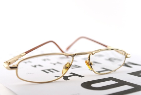 Eyeglasses on the ophthalmologic scale. Shallow DOF. Stock Photo - 12085619