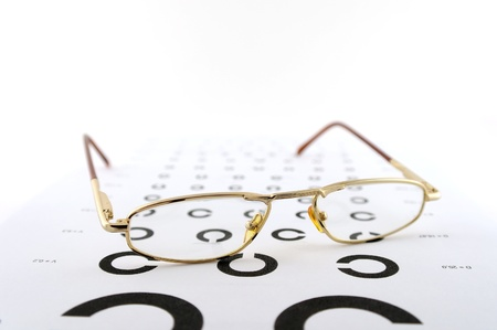 Eyeglasses on the ophthalmologic scale. Shallow DOF.  photo