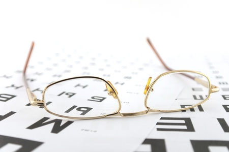 Eyeglasses on the ophthalmologic scales  Shallow DOF Stock Photo - 12397241