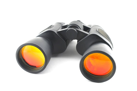 Black binoculars over white