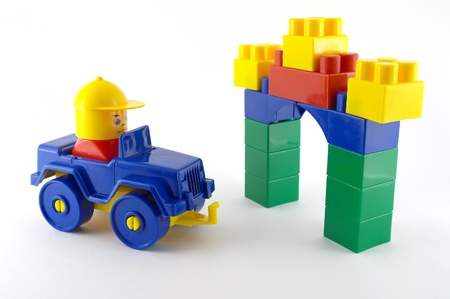 Blue car - mechanical plastic toy front color toy-gate photo