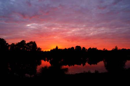 Morning sunrise on the rive photo