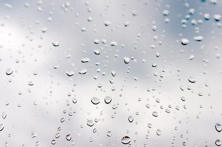 Drops of rain on the window  glass  photo