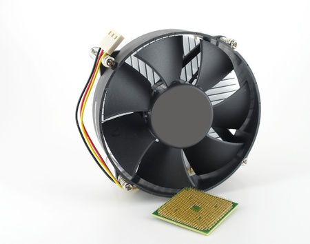 Processor and fan with radiator over white photo