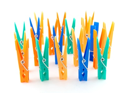 clothespegs: Color clothes-pegs over white Stock Photo