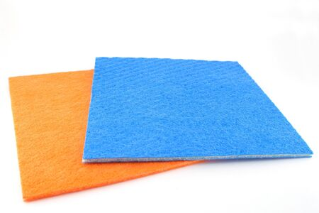 dishcloth: Orange and blue napkins over white