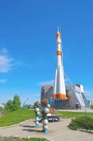 orbital spacecraft: Russian rocket for spaceship. Ufo with green essence Editorial