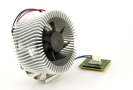 Processor and fan with radiator over white. Shallow DOF. Stock Photo