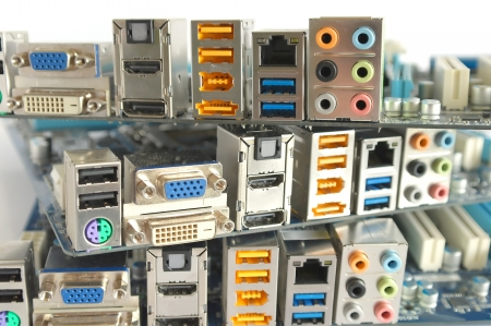 backplate: Interface plug-and-sockets of computer main boards Stock Photo