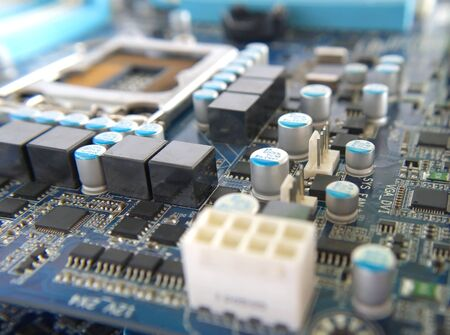 Fragment of computer main board. Shallow DOF photo