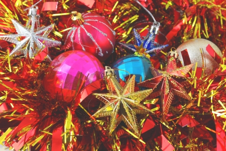Christmas background with color balls, stars and decoration photo