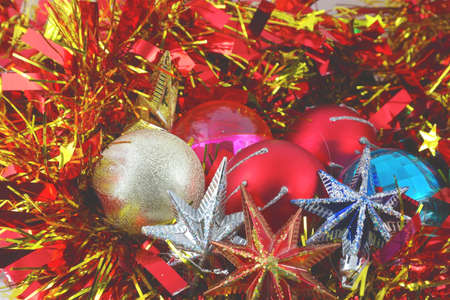 Christmas background with color balls, stars and decoration Stock Photo - 17255828