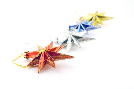 Holiday decoration, color stars for New Year's tree, shallow DOF Stock Photo - 17255892